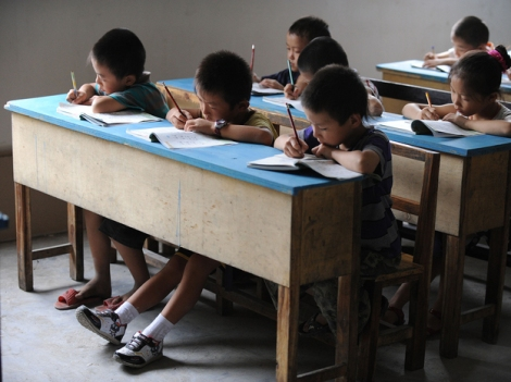 Chinese schoolchildren during lessons at a classroom in Hefei, east China's Anhui province, in 2010.STR/AFP/Getty Images