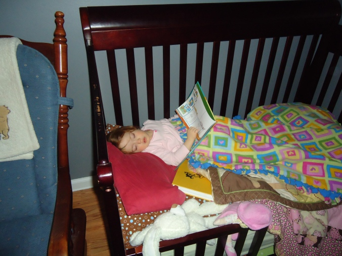 Asleep mid page-turn.