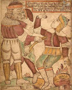 The Death of Baldur from an Icelandic 18th century manuscript.
